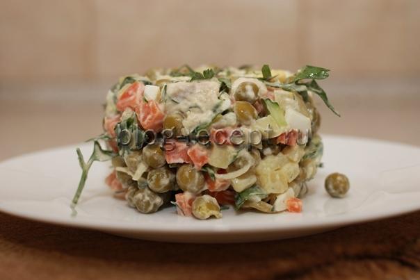 Салат столичный с курицей рецепт классический с