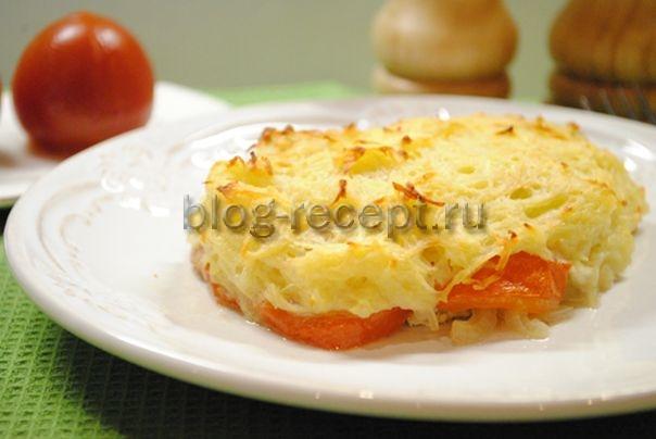 мясо по французски из свинины с помидорами в духовке