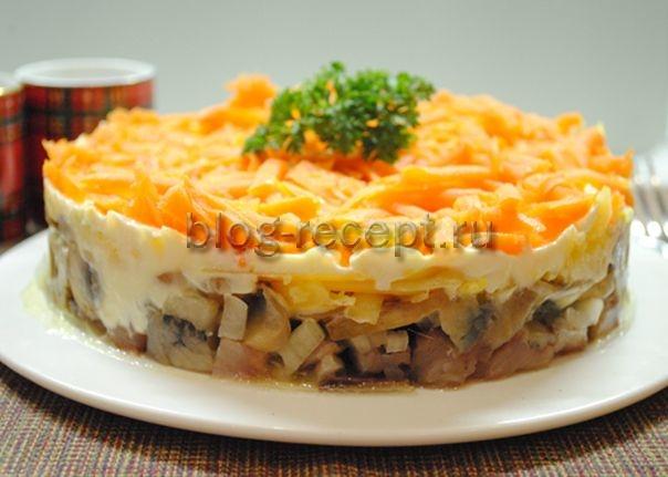 Салат лисья шубка рецепт с грибами и курицей рецепт