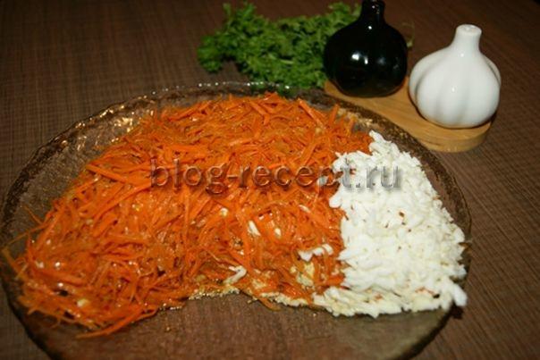 салат лисичка с корейской морковкой рецепт с фото