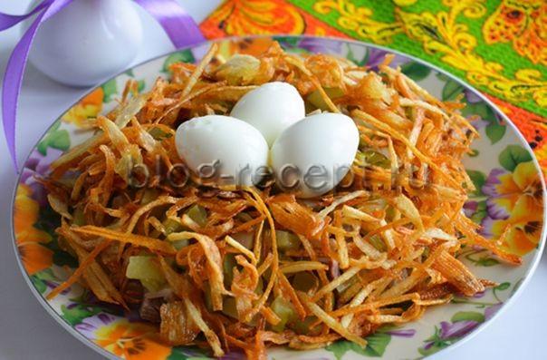 салат из свинины гнездо глухаря рецепт