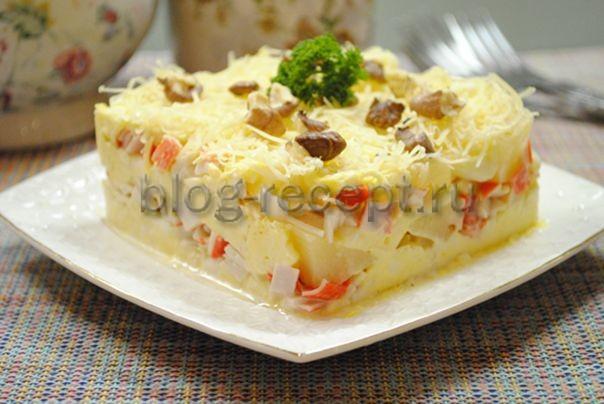 Салат крабовые палочки маслины ананас
