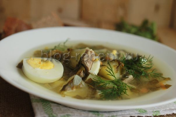рецепт борщ с щавелем рецепт с фото с яйцом