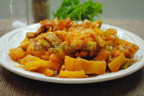 рецепт азу из свинины с солеными огурцами с фото