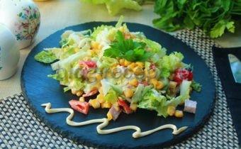 'салат с ветчиной и пекинской капустой