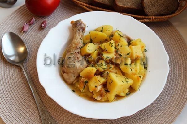 Как потушить курицу в кастрюле с картошкой