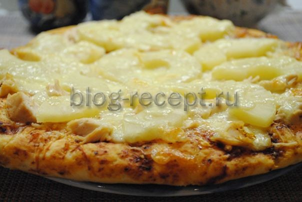пицца с курицей и ананасами рецепт