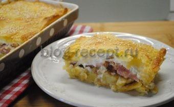 Пирог с картофелем, беконом и яйцом