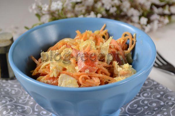 салат с корейской морковью курицей и болгарским перцем