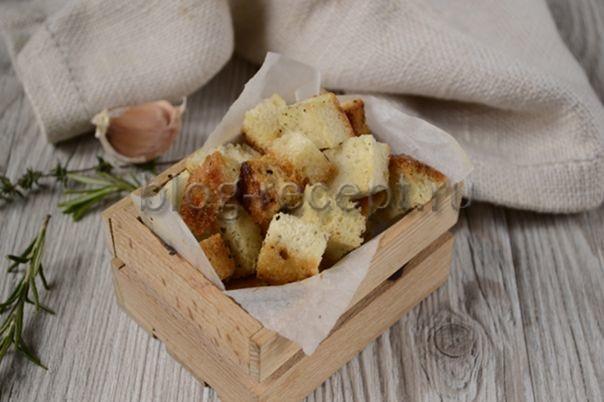 Гренки из белого хлеба в духовке: рецепт