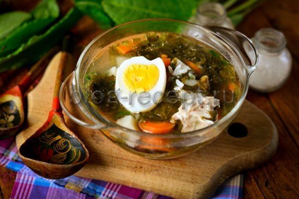 рецепт суп из щавеля с яйцом и курицей