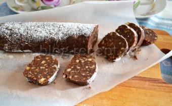 рецепт шоколадной колбасы из печенья и какао
