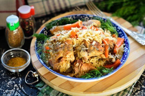 плов на сковороде с курицей рецепт с фото пошагово