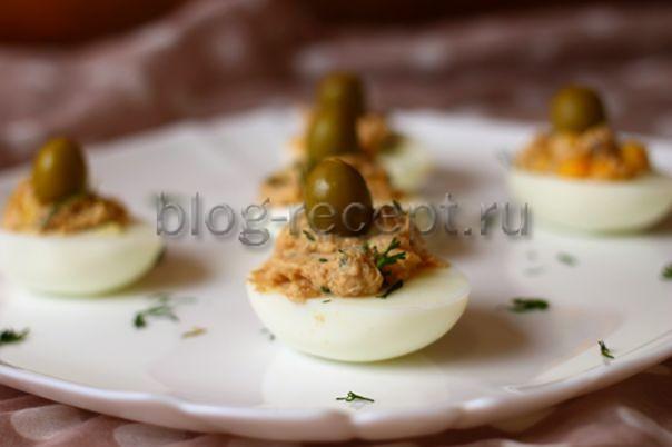 фаршированные яйца с тунцом