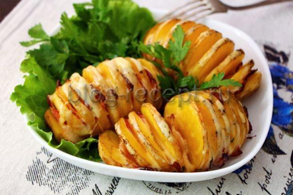 картошка гармошка с беконом и сыром в духовке рецепт с фото