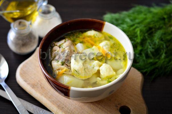 суп на курином бульоне с клецками