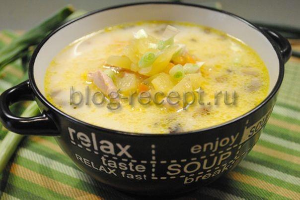 суп сырный с курицей и шампиньонами
