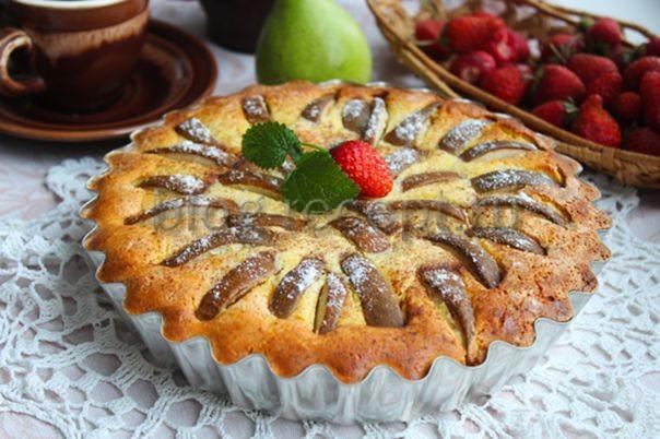 пирог с грушей и творогом