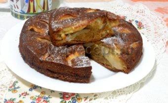 пирог на кефире с грушами
