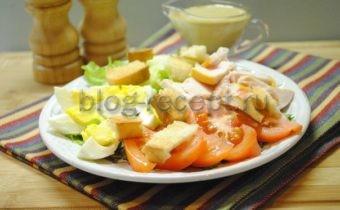 цезарь салат с копченой курицей