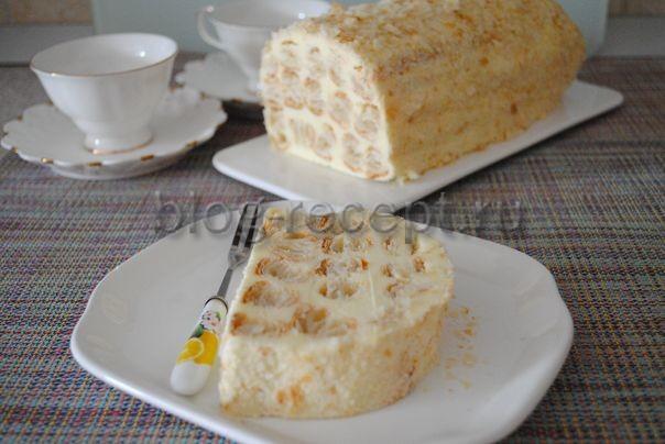 торт полено из слоеного теста