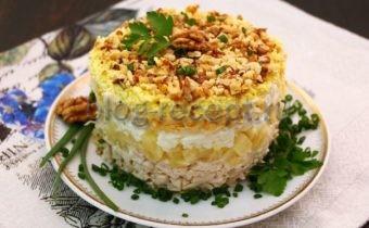 салат дамский каприз с курицей и ананасом рецепт
