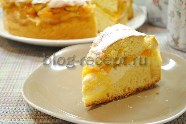 пирог творожный с персиками