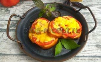 бутерброды с помидорами и сыром и чесноком