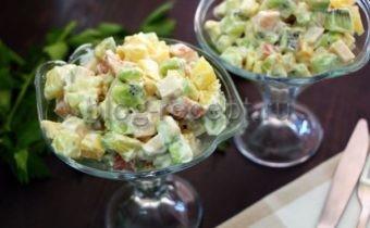 салат копченая курица с ананасом пошаговый рецепт с фото