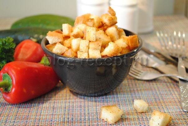 сухарики в духовке с чесноком
