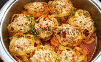 гнезда с фаршем на сковороде рецепт с фото
