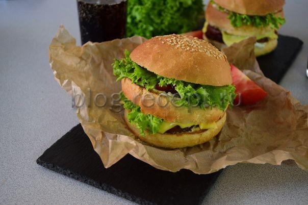 гамбургер в домашних условиях с котлетой