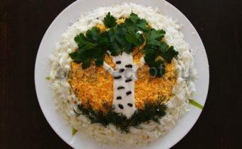 салат березка с курицей и грибами