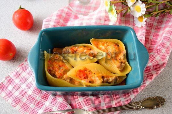 фаршированные макароны ракушки с фаршем в духовке