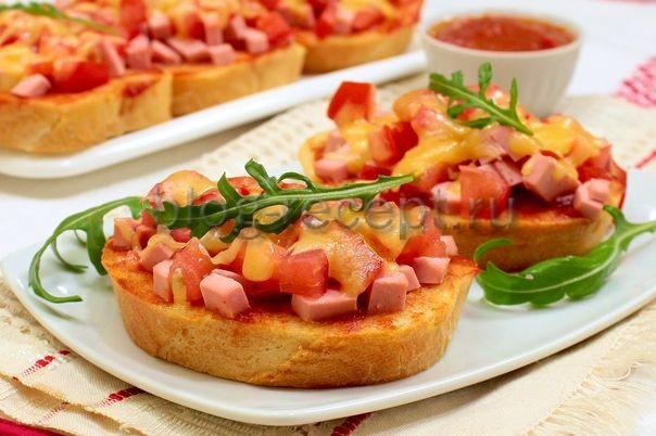 мини пицца на батоне